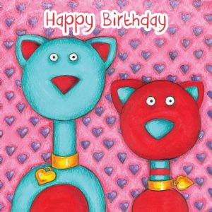 Cats Birthday Card With Googly Eyes TW277